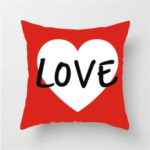 Wholesale arrow pillow covers resale online - Lovers Pillowslip Valentines Day Red Love Hearts Pattern Cushion Cover Velvets Car Pillow Case Arrow Varied Creative dn L2