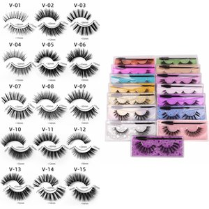 Wholesale short hair curling resale online - 3D Mink Eyelashes Mink Lashes False Eyelashes Soft Natural Short Thick Fake Eyelash Eyelashes Extension With Brush and Box styles RRA3782