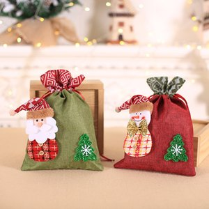 Wholesale gift wrappers for sale - Group buy Christmas Drawstring Candy Gift Bag Xmas Treats Bags Cute Snowman Santa Party Supplies Kids Gifts Wrapper JK2010XB