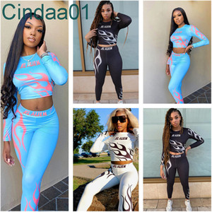 Women Tracksuit Two Pieces Set Slim Designer New High Waist Fashion Pattern Letters Printed Ladies Tight Sports Suit Outfits 2021