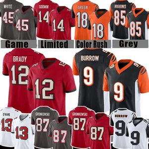 marrons do futebol venda por atacado-87 Rob Gronkowski Tom Brady Antonio Brown Joe Burrow Football Jersey Mike Evans Chris Godwin Devin White A J Tee verde Higgins