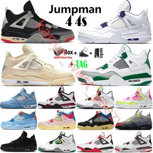 2021 Top Cream White x Sail Bred Fire Red Jumpman 4 4s Mens Basketball Shoes Neon Black Cat Cool Grey Metallic Purple Running Shoes Sneakers