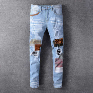 Wholesale light tear for sale - Group buy Mens jeans Hip Hop pants designer jeans tear motorcycle slim motorcycle jeans size