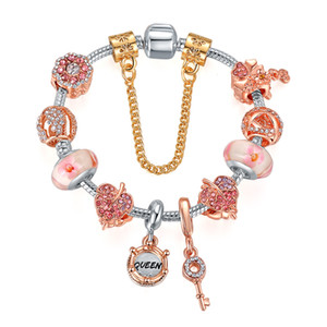 2020 Pandor fashion Rose gold pink dazzling flower Beads Queen beaded DIY jewelry wholesale