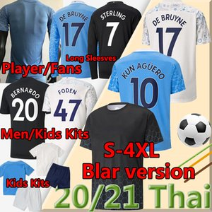 ingrosso aguero football-4XL Balr Player Version Soccer Jersey City Fan Sterling de Bruyne Kun Aguero Men Kids Kit Maniche lunghe Calcio