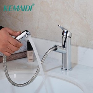 Wholesale black kitchen sink mixers for sale - Group buy KEMAIDI Swivel Pull Out Ways Spray Solid Brass Bathroom Basin Sink Faucet Black Kitchen Water Mixer Taps Faucets White