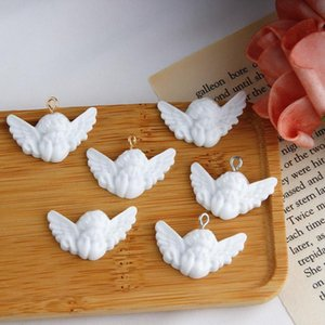 Wholesale earrings for baby girls resale online - 5 Cute White Cupid Wing Angel D Resin Charms Baby For Women Girl DIY Jewelry Pendant Eardrop Earrings Accessory