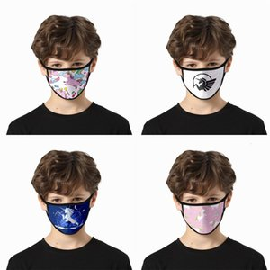 Wholesale horse face mask resale online - Cloth Black Face Masks Fashion Print Unicorn Kid Mascherine Washable Earloop Reusable Horn Horse Adults Respirator gla G2