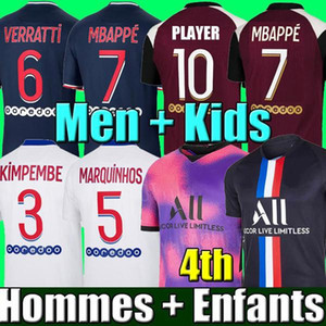 Wholesale green top resale online - 20 Paris soccer jersey MBAPPE VERRATTI MARQUINHOS KIMPEMBE DI MARIA KEAN football Jersey soccer tops men shirt and kids sets