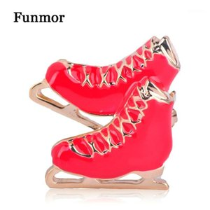 Wholesale roller skating for sale - Group buy FUNMOR Red Enamel Roller Skates Brooches Pendant Coat Dress Decoration Unisex Skating Club Badge Corsage Alloy Metal Hijab Pins1