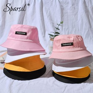Wholesale patch hats resale online - Spasil Unisex Summer Sunscreen Width Brim Bucket Hat Letter Patch UV Protection Caps Parent Child Fisherman Chapeau Boys Piece