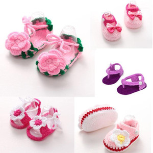 Wholesale knitted baby shoes for sale - Group buy Fashion Daily Comfortable Crib Crochet Casual Baby Girls Handmade Knit Sock Roses Infant Shoes HOOLER1
