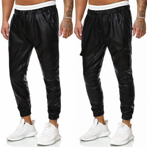 Wholesale men's leather pants resale online - Loose Black Windproof Waterproof Motorcycle Toe Elastic Autumn and Winter Men s Leather Pants