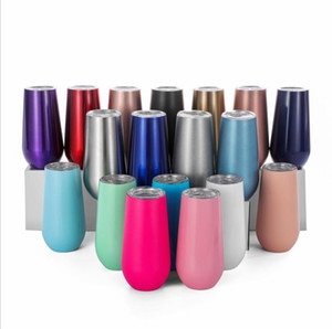 Wholesale stemless wine glasses for sale - Group buy 6oz Wine Tumbler Mug Champagne Beer With Lid Wines Glass Stemless Stainless Steel Thermos Insulated Mugs Christmas Cup Party Gift