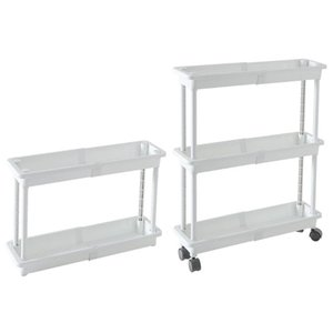 Wholesale mobile shelving resale online - 2 Tier Slim Kitchen Storage Cart Rack Mobile Shelving Unit Organizer Adjustable Removable Slide Shelf for Kitchen Bathroom