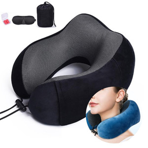 Wholesale travelling pillows resale online - U Shaped Memory Foam Neck Pillows Soft Comfort Slow Rebound Space Airplane Travel Pillow Solid Neck Cervical Healthcare Bedding