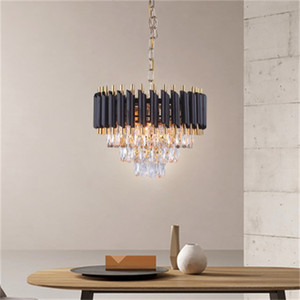 Wholesale modern round pendant lights for sale - Group buy New led crystal chandelier home living room light modern creative Nordic black round light pendant lights dining room pendant lamps