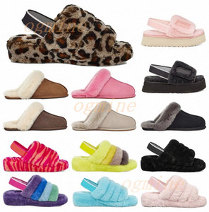 khaki sandalen damen großhandel-high quality australian boots kids women designer slipper furry slipper fluff yeah slides pantoufles fur luxury sandals