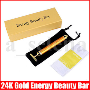 Wholesale gold beauty bar face massager resale online - Beauty Bar Energy Beauty Bar K Gold Pulse Firming Massager Face Massager Facial Roller Massage Facial Body Massage Relaxation With Boxes