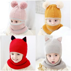 Wholesale baby autumn hat resale online - Baby Hat Bib kids Knitted hat boy cycling warm keeping cap autumn winter protection face ear integrated Plush hat party Hats FF248
