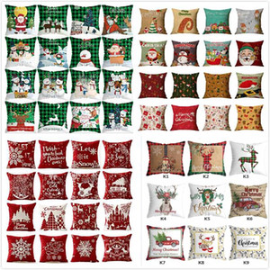 Wholesale sofa sales for sale - Group buy Hot Sale New Christmas Sofa Pillowcase Plaid Snowman Xmas Tree Deer Reindeer Cushion Cover Pillow Cases Home Sofa Car Decor HH9