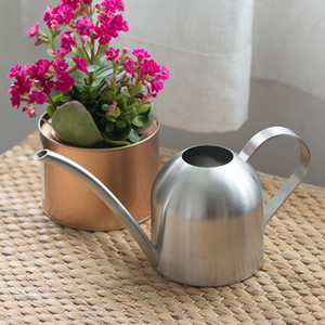 Wholesale stainless steel garden flowers for sale - Group buy Long Mouth Watering Can Stainless Steel Color Mini Type Waters Flowers Sprinklers Gardening Succulent Plants Water Kettles sh L1