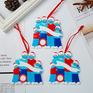 Wholesale decorating christmas trees resale online - Christmas Tree Decor Quarantine Ornaments Survivor Family of Face Masks Hand Sanitized Customiz Christm Decorating GGB2291