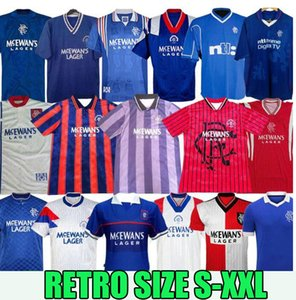 Wholesale 92 resale online - 87 Glasgow Rangers fc Retro soccer jerseys GERRARD GASCOIGNE LAUDRUP Soccer Shirts MCCOIST football Uniforms