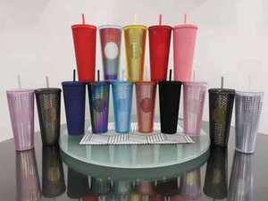 Wholesale clear coffee mugs resale online - 24 oz Personalized Starbucks Iridescent Bling Rainbow Unicorn Studded Cold Cup Tumbler coffee mug with straw
