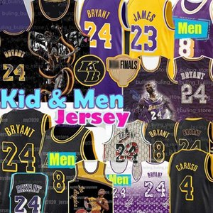 kobe 4  venda por atacado-Los Mens Angeles Lakers Kobe Alex Caruso Lower Mission Bryant Basquete Jersey Black Mamba Lebron James
