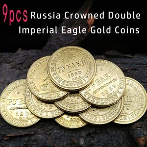 Wholesale russia coins copies for sale - Group buy 23mm Russia Crowned Double Imperial Eagle Copy Small Gold Coin