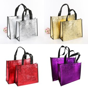 Wholesale food fabrics resale online - DIY Shopping Bags Foldable Fashion Tote Laser Fabric Nonwoven No Zipper Bag Home Reusable Handbags bl G2