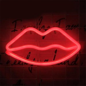 Wholesale neon decorative lighting resale online - Decorative light neon lip sign LED night lights bedroom decoration birthday wedding party house wall decor valentines day gift GWD4051