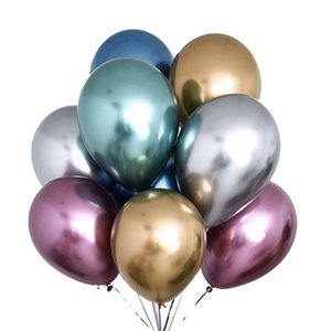 Wholesale inflatable birthday for sale - Group buy 50pcs Set inch Glossy Metal Pearl Latex Balloons Thick Chrome Metallic Colors Inflatable Air Balls Globos Birthday Party HHE3361