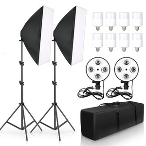 Wholesale lightings resale online - Photo Studio Kit Softbox LED W Kit E27 Holder Photographic Lightings Light Stand Softbox for Camera Photo Accessories