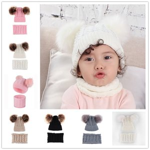 Wholesale christmas baby hat scarves resale online - 0 Years Baby Kids Beanies Winter Hat Scarf Set with Two Fur Pom Balls Tuque Twist Knit Skull Caps Infants Toddler Warm Headwear E102001