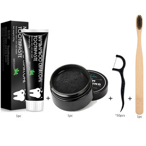 Wholesale kit tooth whitening resale online - EPACK Natural Organic Activated Charcoal Teeth Whitening Powder Toothpashe Set Remove Smoke Tea Coffee Yellow Stains Bad Breath Oral Ca