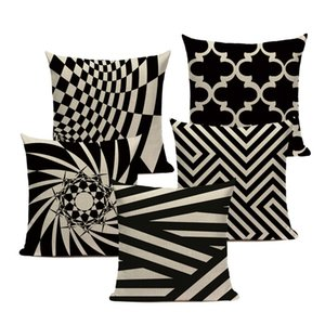 Wholesale white striped bedding for sale - Group buy Geometry Decorative Cushion Covers Fashion Black And White Striped Linen Pillowcase Sofa Bed Car Custom Print Pillow Cover