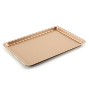 Wholesale pans gold for sale - Group buy Carbon Steel Baking Sheet Pan Inch Cake Cookie Pizza Tray Baking Sheet Plate Rose Gold Non stick Rectangle Baking Pan VT2016