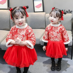 Wholesale chinese style baby clothes resale online - Newborn Baby Girl Clothes Children Girl Dress Winter Chinese Style Long Sleeve Cheongsam Splicing Tulle Princess Dress