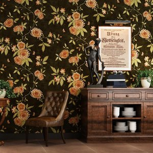 Wholesale black green wallpapers resale online - High Quality American Country Vintage Wallpaper Black Light Green TV Background Big Flower Paper Wallpaper Roll
