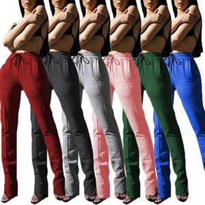 Wholesale panting brush for sale - Group buy Solid Color Brushed Zipper Slit Stacked Sweatpants Jogger Women Winter Clothes Drawstring Pants Casual Sports Trousers