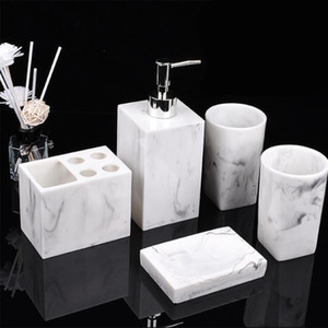 Wholesale resin bathroom accessories for sale - Group buy Resin Imitation Marble Bathroom Accessory Set Mouthwash Cup Soap Toothbrush Holder Shampoo Bottle Household Wash Set