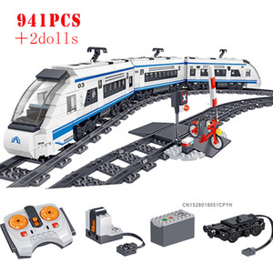 Wholesale electric rail train resale online - Technic Battery Powered Electric City Train Building Blocks High speed Rail Enlighten Bricks Toys For Children Birthday Gifts X0102