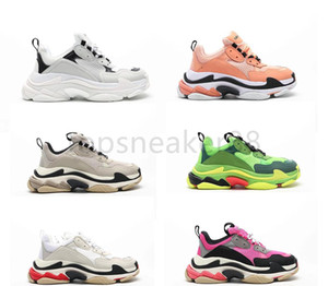 Wholesale shoe sho for sale - Group buy High quality fashion shoes Paris FW cactus metal gold modeling sneaker Triple S white huge casual shoes tennis black red men and women sho