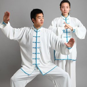 Wholesale wushu kungfu uniform resale online - New Design Color Long Sleeved Wushu Spring Autumn cotton silk TaiChi KungFu Uniform Suit Uniforms Tai Chi Clothing Jacket pant