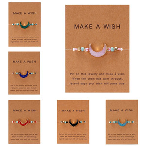 Wholesale lucky charm stone bracelets for sale - Group buy Make a Wish Card Resin Natural Stone Woven Charm Bracelets Crescent Moon Lucky Red String Bracelets Femme Fashion Jewelry Gift
