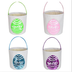 Wholesale bunny basket resale online - Easter Basket Flip Sequin Egg Basket Easter Bunny Bag HAPPY EASTER Candy Bags Treat basket Totes Kids Handbag Purses Letters F123002