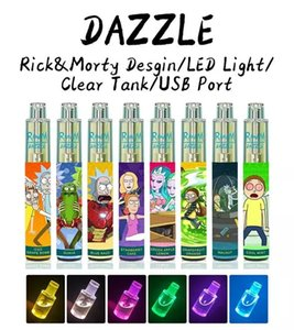 luz para a bateria venda por atacado-Autêntico Randm Dazzle Dispositivo Pod Elevável Kit mAh Bateria Puffs Prefigurados ml Cartucho Vape Pen com RGB Light vs Bar XXL