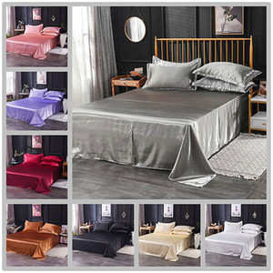 Wholesale Luxury 100% Satin Silk White 1PCS Flat Sheet Silky Queen King Bed Sheets For Women Men Y200417
